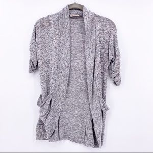 Free Kisses Gray Open Front Short Sleeve Cardigan